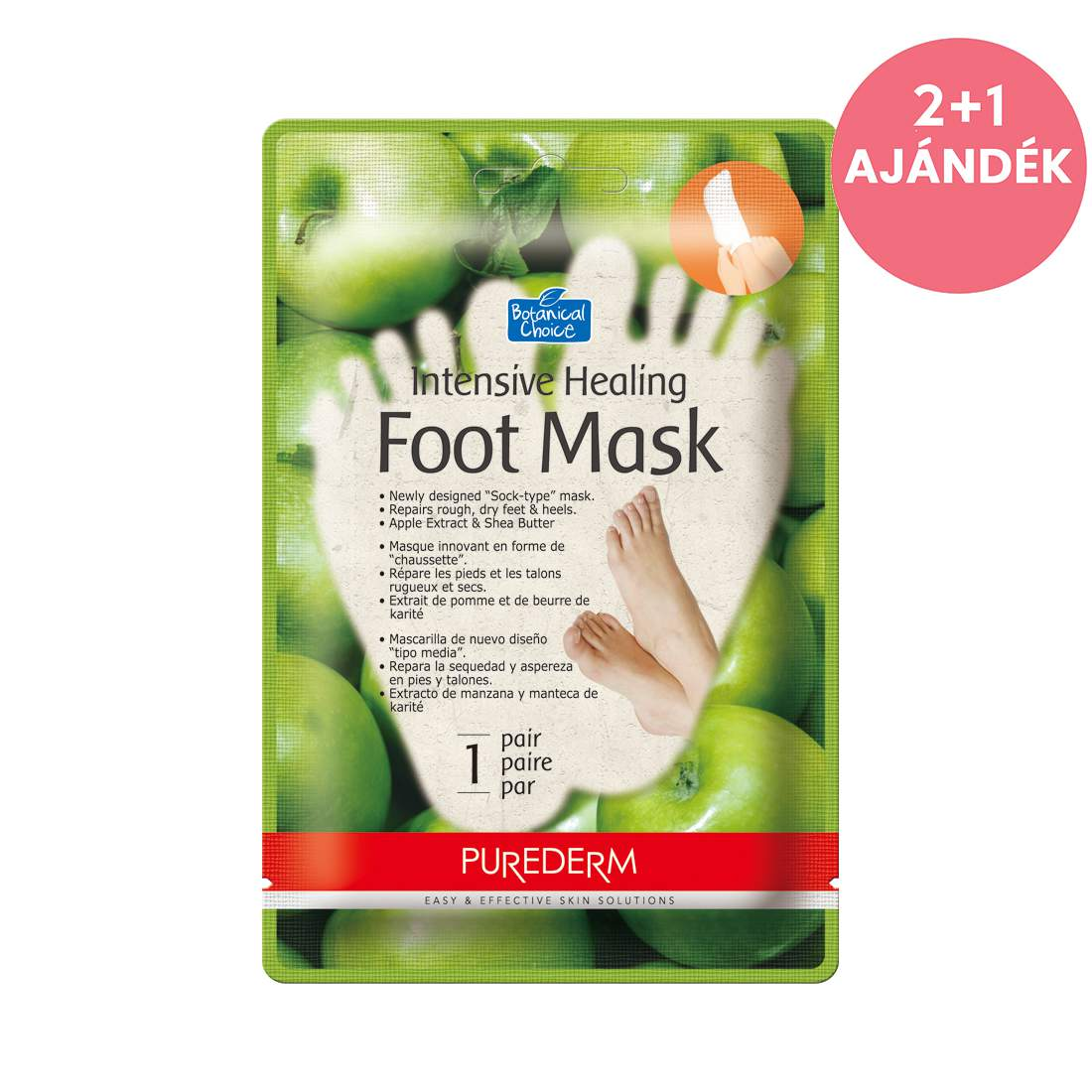 Egyszer-használatos bőrpuhító almás lábmaszk - PureDerm Apple Foot Mask