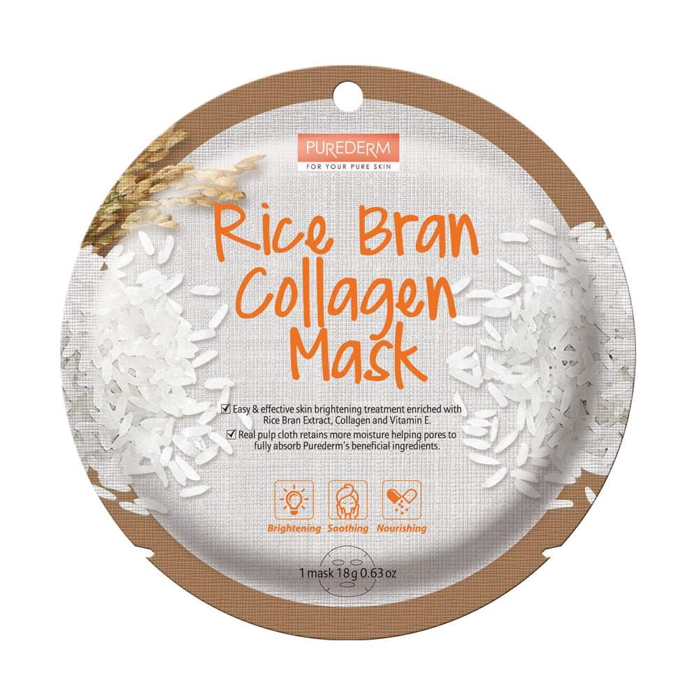 Bőrfehérítő-hidratáló fátyolmaszk - PureDerm RiceBran Collagen Mask