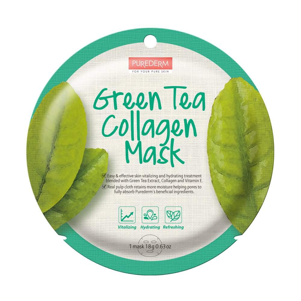 Bőrtisztító-hidratáló fátyolmaszk - PureDerm Green Tea Mask