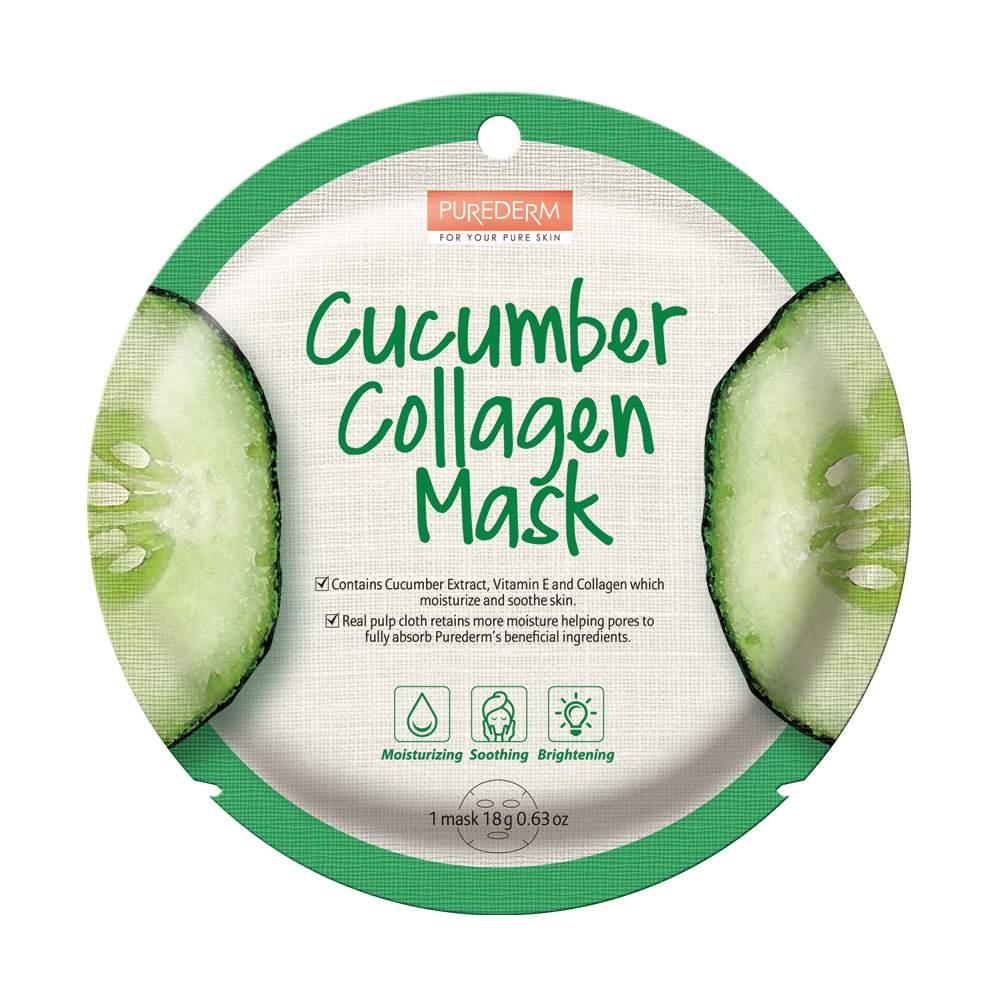 Bőrnyugtató és hidratáló hatású maszk - PureDerm Cucumber Collagen Mask